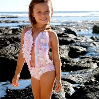 Kids Baby Girls Toddler Swimming Bathing Suit New Cute Hollow Out Summer Bikini One Piece Swimming Suit Backless Halter Swimsuit