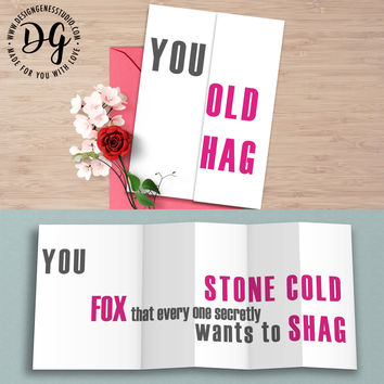 """Funny card for her """"you old hag"""" hidden message card"""
