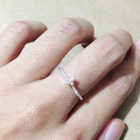 Thin ring. Tiny diamond ring. Silver ring. Twist ring. cute gift.