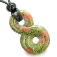 Infinity Magic Powers Knot Lucky Charm Spiritual Protection Amulet Unakite Gemst