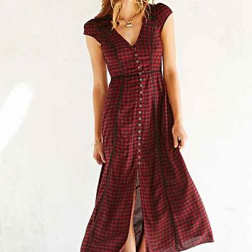 Ecote Plaid Button-Front Maxi Dress- Red Multi