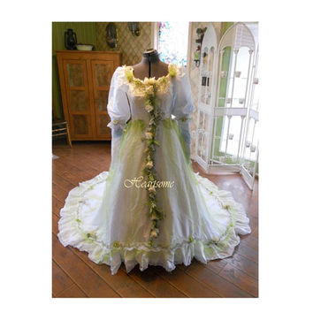 Vintage whimsical wedding dress gown fairy  fantasy w head wreath OOAK white apple green tulle woodland