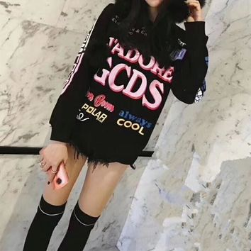 """GCDS"" Women Casual Fashion Letter Cartoon Hello Kitty Pattern Print Long Sleeve Thickened Sweater Tops"