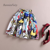 BunniesFairy 50s Vintage European American Summer Fashion Elements Graffiti Print Pleated Mini Skater Skirts Falda Femininas