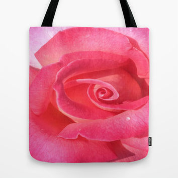 beautiful pink rose Tote Bag by Sari Klein