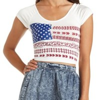 Cross-Back American Flag Graphic Crop Top - Ivory Combo