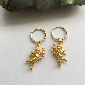 Gold Cupid Hoop Earrings