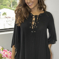 Veronica Lace Up Blouse - Black