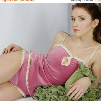 lingerie set in cotton velour - made to order