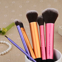 Cosmetic 6 Pcs Aluminum Tube Handle Fiber Makeup Brushes Set