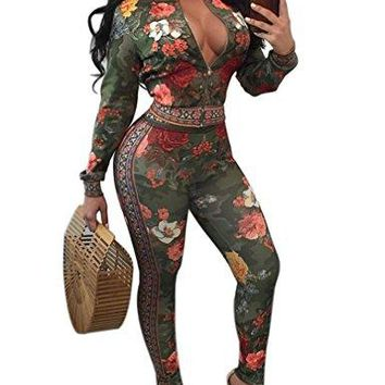 Womens Two Piece Outfits Floral Print Jacket Suit Bodycon Tracksuits Green M