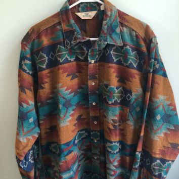 southwestern navajo tribal print long sleeved flannel shirt