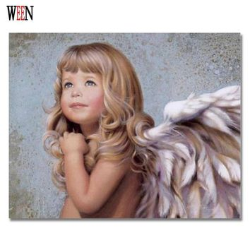 WEEN Angel Girl Picture By Number On Canvas DIY Digital Oil Poster Paintings by Number For Home Decorative 2017 New Child Gift