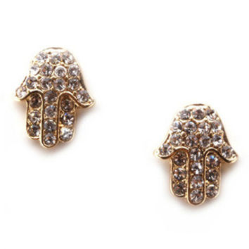 Gold Hamsa Rhinestone Stud Earrings