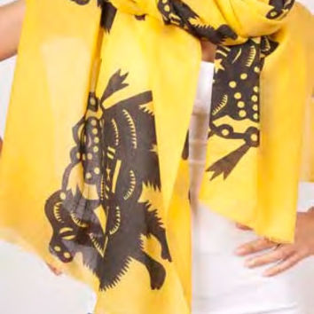 Camels Extra Long Wool Scarf in Saffron design by Thomas Paul