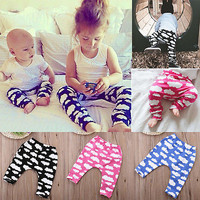 Baby Boy Girls Harem Pants Toddler Kids Sweat Pants Joggers Leegings Elastic Bottoms