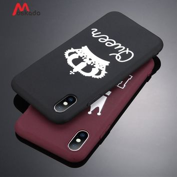 Trendy Moskado Luxury Couple Crown Style Phone Case For iPhone 5 5s SE 6 6s 7 8 Plus X Pure King Queen Letter Soft TPU Back Cover Cases AT_94_13