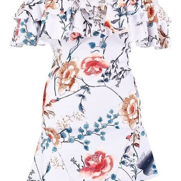 Floral Double Frill Off Shoulder Skater Dress | Boohoo