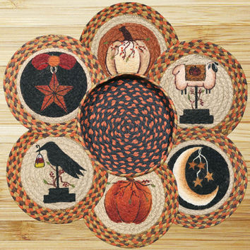 Autumn Round Trivets in a Basket (Set of 7)