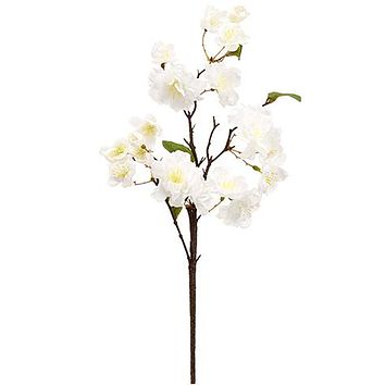 "White Silk Cherry Blossom Branch - 18"" Tall"