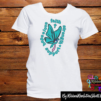 Thyroid Cancer Butterfly Faith Shirts