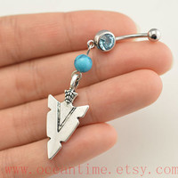 Arrow Belly Button Rings,turquoise Navel Jewlery,Arrowhead belly button ring,friendship jewelry, Arrow head belly button jewelry,oceantime