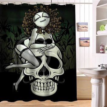 Skulls Fabric Modern Shower Curtain bathroom Waterproof