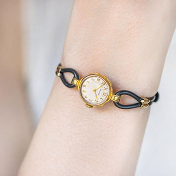 Evening watch for women sunburst pattern vintage, gold plated women watch Volga, cocktail watch tiny bracelet gift her, new leather strap