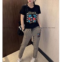 """""""Gucci"""" Woman Leisure Fashion Letter Mickey Sequins Personality Printing Crew Neck Short Spell Color Sleeve Tops Grid Pattern Trousers Two-Piece Set Casual Wear Sportswear"""