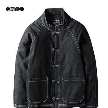 Winter Men's Cotton Padded Thickened Jacket China Style Male Jeans Coat Mens Fashion Casual Hiphop Warm Denim Parkas Jacket