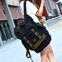 Black Canvas Travel Rucksack Backpack with Many Pockets