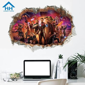 Avengers 3D Mural Stickers for Nursery Room Decoration Removable Wall Sticker Poster DIY Home Decor Batman Hole View Stickers