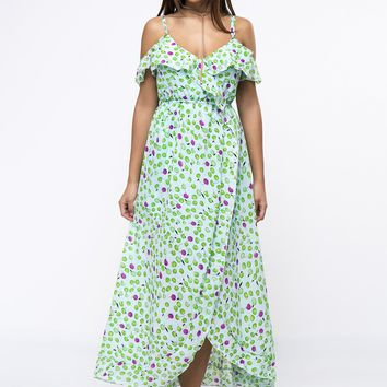 Casual Open Shoulder Flounce Fruit Printed Chiffon Maxi Dress