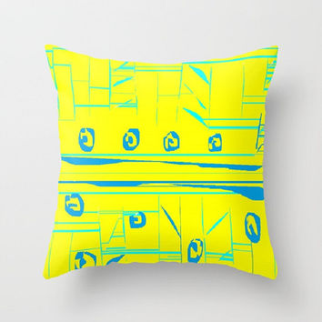 Yellow Aqua Turquoise Indoor Throw Pillow Yellow Tribal Abstract Pillow Cover Yellow Turquoise Pillow Abstract Turquoise Pillow Yellow Aqua
