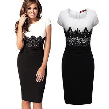 Vestidos  Women OL Pencil Dress Summer Sleeveless Bodycon Midi Dress Ladies Casual Slim Lace Party Dresses Plus Size
