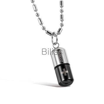 SHIPS FROM USA Mens Punk Love Pill Cross Capsule Design Stainless Steel Pendant Necklace Black/Blue/white 3 colors Selectable