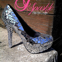 Zaira Mirror Glass Rhinestone Custom High Heel Pump