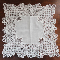 Antique Tape Lace Sheer Cotton Off White Square Handkerchief