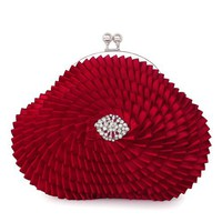 Cool Red Flower Rhinestone Clutch Bag