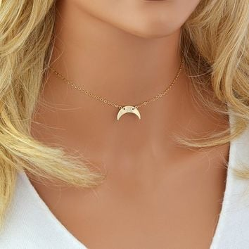 Half Moon Necklace, Choker Necklace Gold, Crescent Moon Necklace, Half Circle, Hammered Moon Necklace, Gold, Silver, Rose Gold