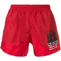 "Red ""Mona Lisa"" Swim Shorts by OFF-WHITE"