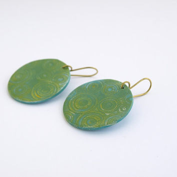 Big round green yellow earrings, Clay circles earrings, OOAK