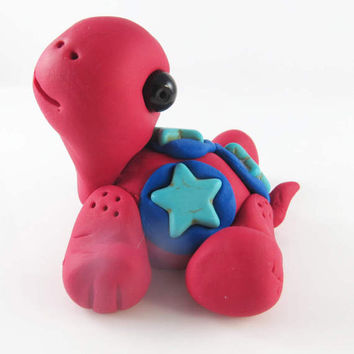 Polymer clay red turtle with turquoise