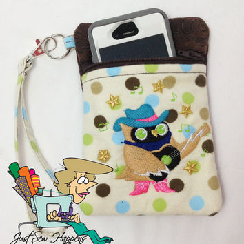 Country Singing Owl Brown Embossed Vegan Leather Cell Phone Wristlet