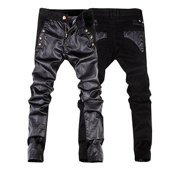 High quality men jeans leather denim pants men motorcycle trousers 28-34(small size) free shipping A105