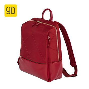 Xiaomi Eco-chain 90FUN Fashion Diamond Lattice Backpack Women Girl Shopping Bag for School College Travel Trip, Red/Black