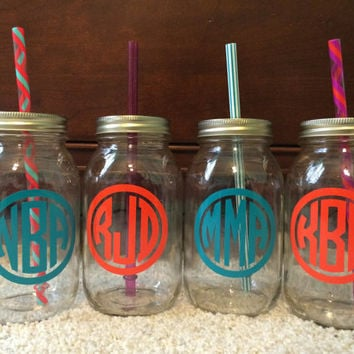shop monogrammed mason jar on wanelo