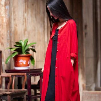 Spring Summer Cotton And Linen Original Chinese Style Vintage Solid Color Women Long Jacket