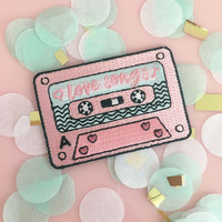 Love Songs Mix Tape Patch - Iron-On - Embroidered Applique - Patches - 80s - 90s Cassette Tape - Pink - Wildflower + Co.