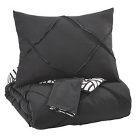 Jaylee Queen Comforter Set - Black - Free Shipping!